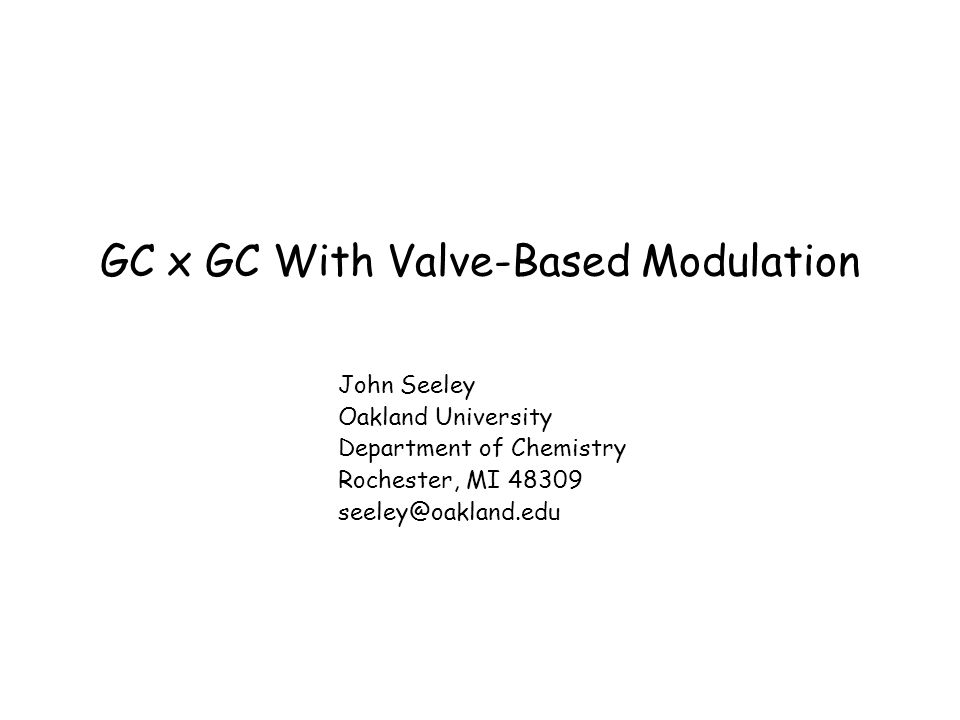 Seminar Structure 1.The Nature of a GC x GC Separation 2.An Examination of Low Duty Cycle Modulation 3.Direct Diversion Modulation With Multiport Valves 4.Differential Flow Modulation With Multiport Valves 5.Differential Flow Modulation With Fluidic Devices 6.Direct Diversion Modulation With Fluidic Devices 7.Summary