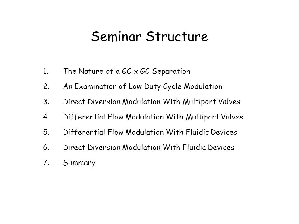 The Key Characteristics of a GC x GC Separation I.A GC x GC separation is a normal GC separation (the primary separation) followed by a steady repetition of secondary GC separations.
