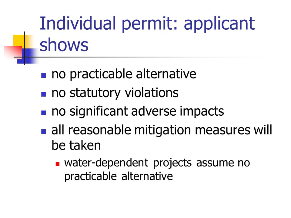 Individual permit: applicant shows no practicable alternative no statutory violations no significant adverse impacts all reasonable mitigation measures will be taken water-dependent projects assume no practicable alternative