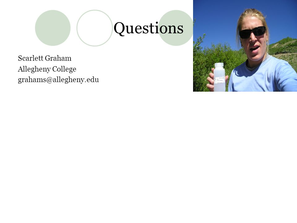 Questions Scarlett Graham Allegheny College grahams@allegheny.edu