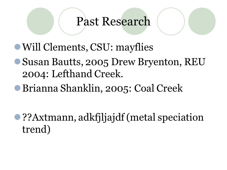 Past Research Will Clements, CSU: mayflies Susan Bautts, 2005 Drew Bryenton, REU 2004: Lefthand Creek.