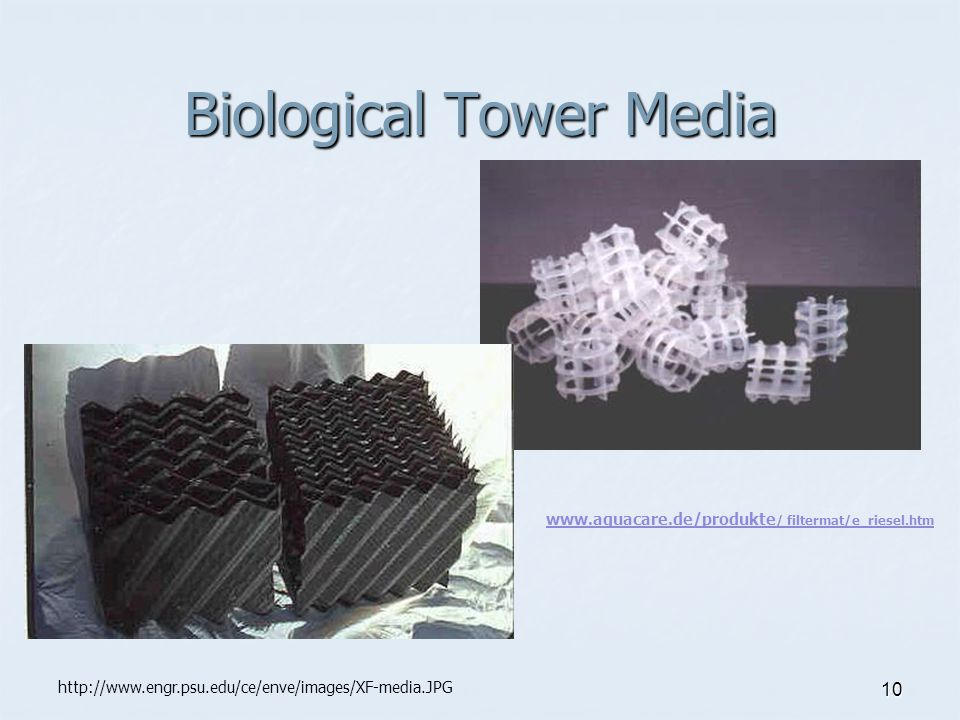 10 Biological Tower Media www.aquacare.de/produkte / filtermat/e_riesel.htm http://www.engr.psu.edu/ce/enve/images/XF-media.JPG