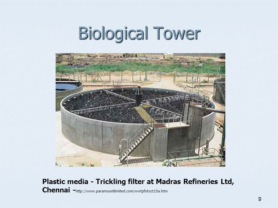 9 Biological Tower Plastic media - Trickling filter at Madras Refineries Ltd, Chennai - http://www.paramountlimited.com/wwtpfotoct15a.htm