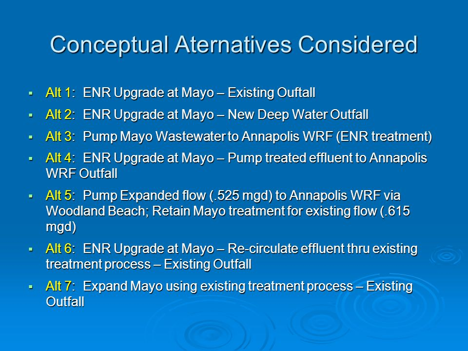 Conceptual Aternatives Considered  Alt 1: ENR Upgrade at Mayo – Existing Ouftall  Alt 2: ENR Upgrade at Mayo – New Deep Water Outfall  Alt 3: Pump
