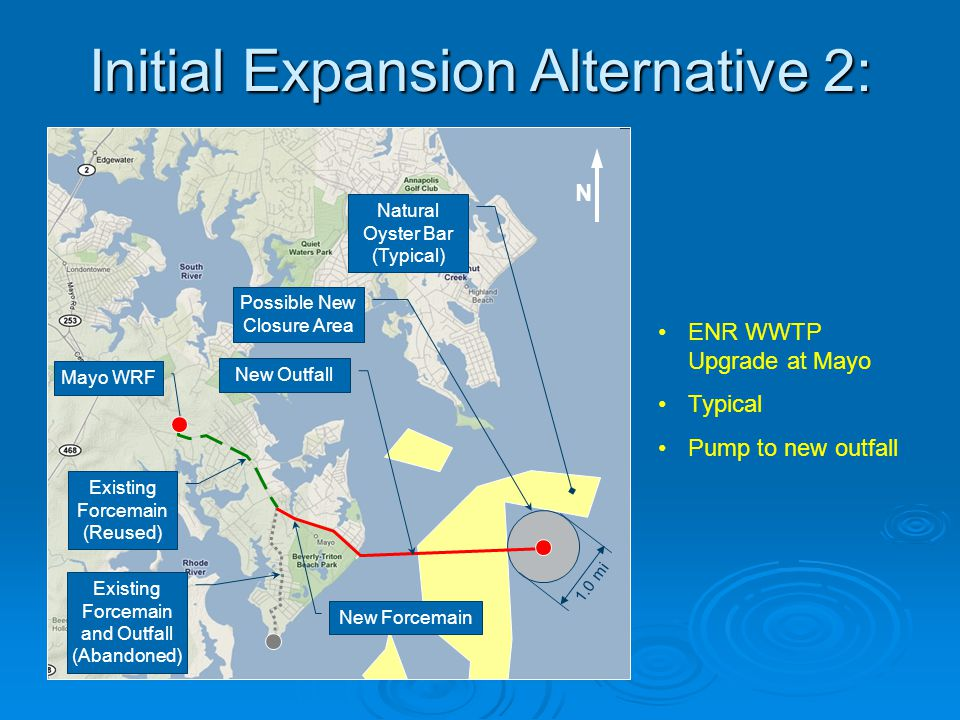 Initial Expansion Alternative 2: ENR WWTP Upgrade at Mayo Typical Pump to new outfall Mayo WRF New Outfall Existing Forcemain and Outfall (Abandoned)