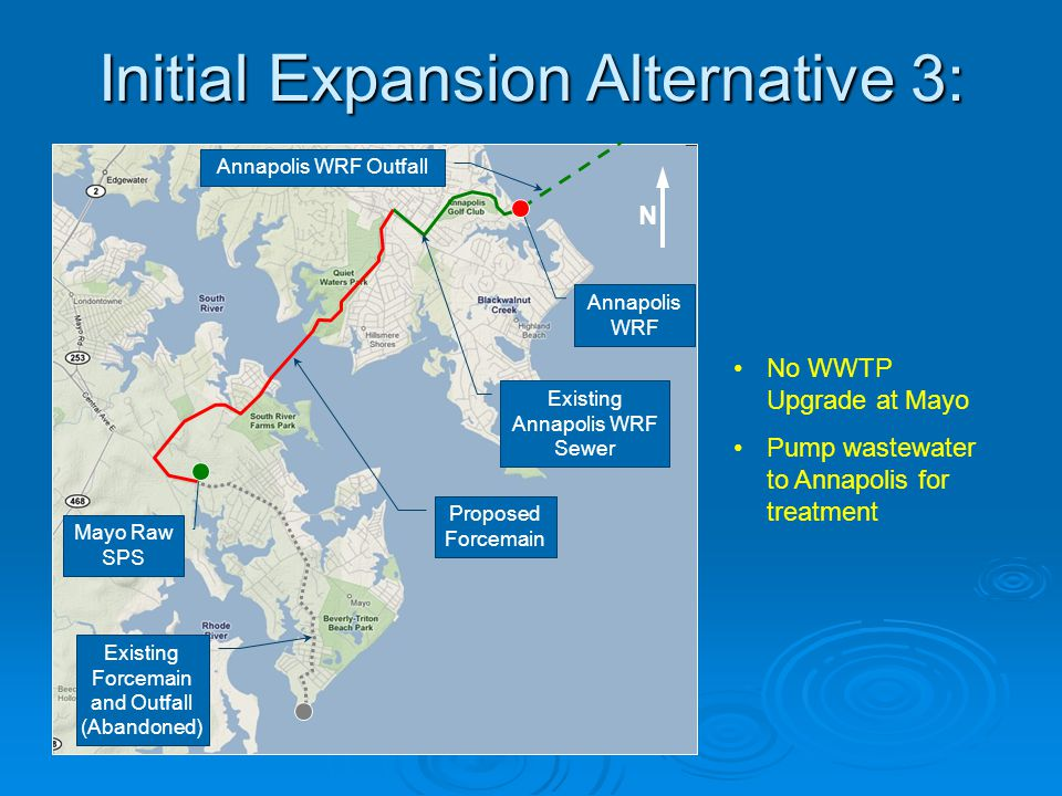 Initial Expansion Alternative 3: No WWTP Upgrade at Mayo Pump wastewater to Annapolis for treatment Mayo Raw SPS Proposed Forcemain Annapolis WRF N Ex
