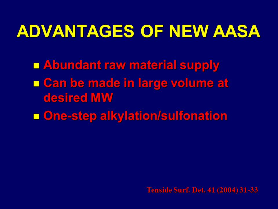 ADVANTAGES OF NEW AASA n Abundant raw material supply n Can be made in large volume at desired MW n One-step alkylation/sulfonation Tenside Surf.