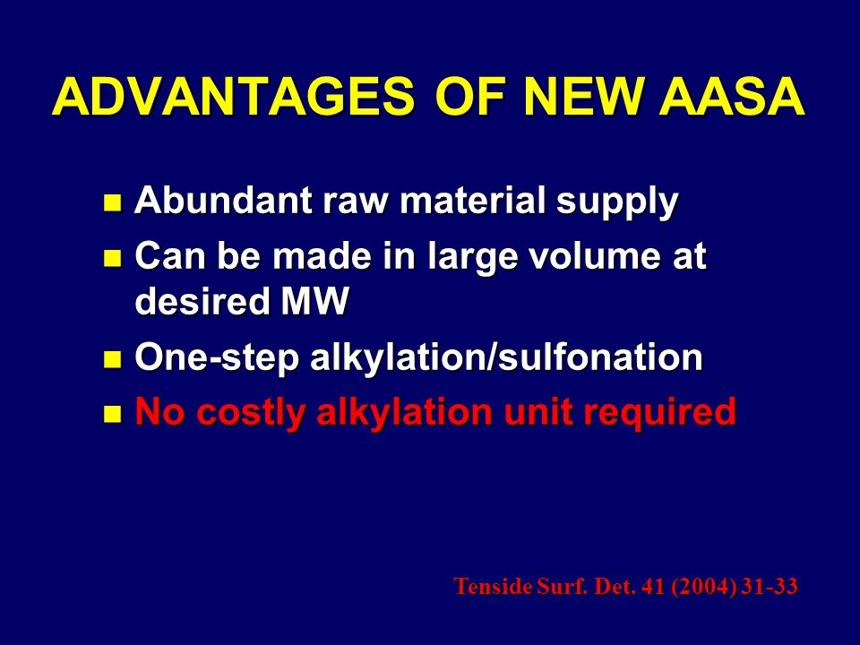 ADVANTAGES OF NEW AASA n Abundant raw material supply n Can be made in large volume at desired MW n One-step alkylation/sulfonation n No costly alkylation unit required Tenside Surf.