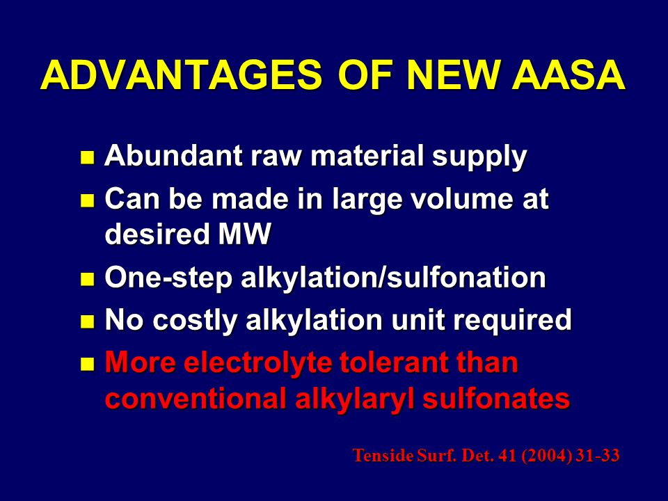 ADVANTAGES OF NEW AASA n Abundant raw material supply n Can be made in large volume at desired MW n One-step alkylation/sulfonation n No costly alkylation unit required n More electrolyte tolerant than conventional alkylaryl sulfonates Tenside Surf.