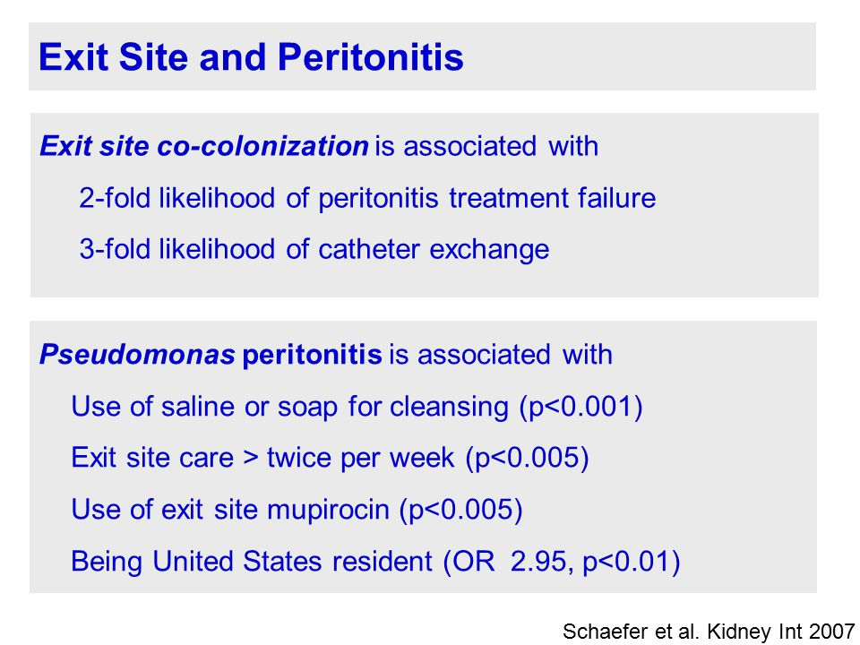 Exit Site and Peritonitis Exit site co-colonization is associated with 2-fold likelihood of peritonitis treatment failure 3-fold likelihood of cathete