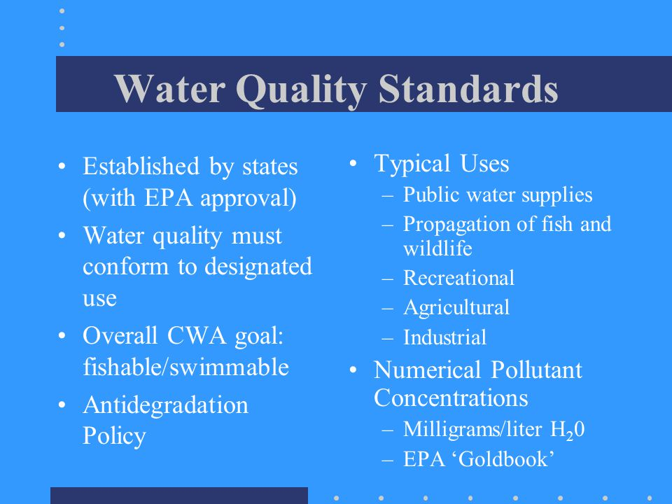 State Plans for Non-Point Sources ID areas that can't meet WQ Stds w/o NonPoint control) Designate critical watershed zones Select appropriate BMP and incorporate in plan Implementation Plan with deadlines Monitor and Evaluate EPA approval States to set Total Maximum Daily Loads (TMDLs) for waters where effluent limits fail to result in attainment of WQ stds (include both point and non-point sources)