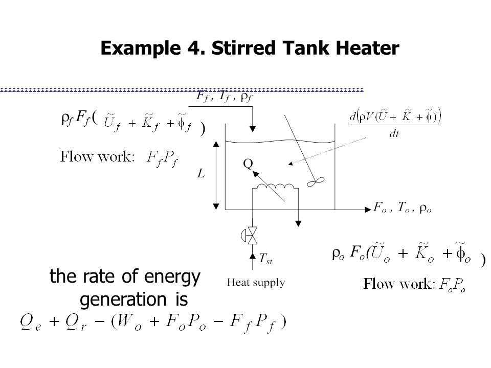 Example 4. Stirred Tank Heater )  f F f ( the rate of energy generation is  o F o ( )