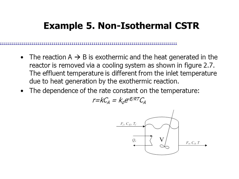 Example 5. Non-Isothermal CSTR The reaction A  B is exothermic and the heat generated in the reactor is removed via a cooling system as shown in figu