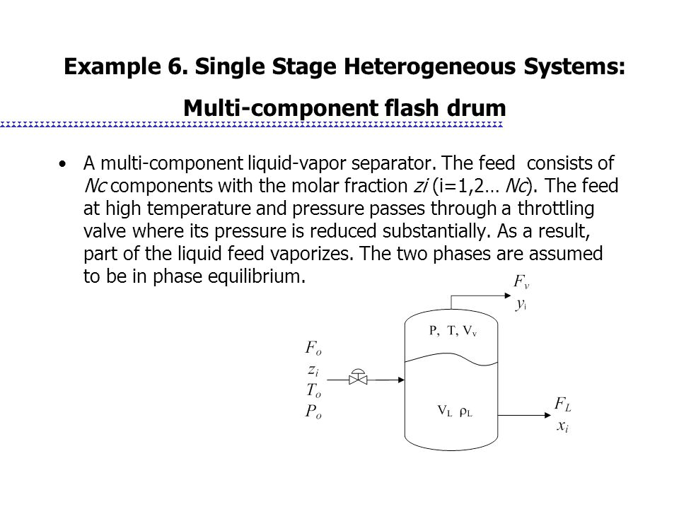 Example 6. Single Stage Heterogeneous Systems: Multi-component flash drum A multi-component liquid-vapor separator. The feed consists of Nc components