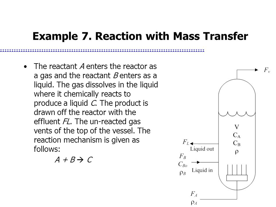 Example 7. Reaction with Mass Transfer The reactant A enters the reactor as a gas and the reactant B enters as a liquid. The gas dissolves in the liqu