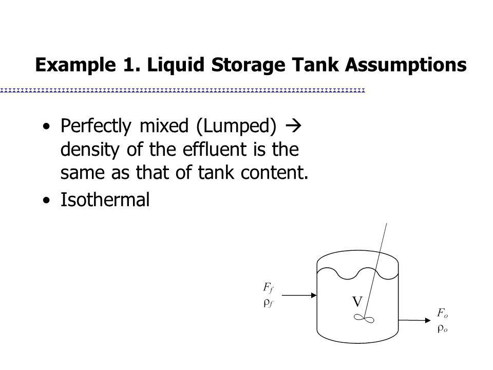 Example 1. Liquid Storage Tank Assumptions Perfectly mixed (Lumped)  density of the effluent is the same as that of tank content. Isothermal