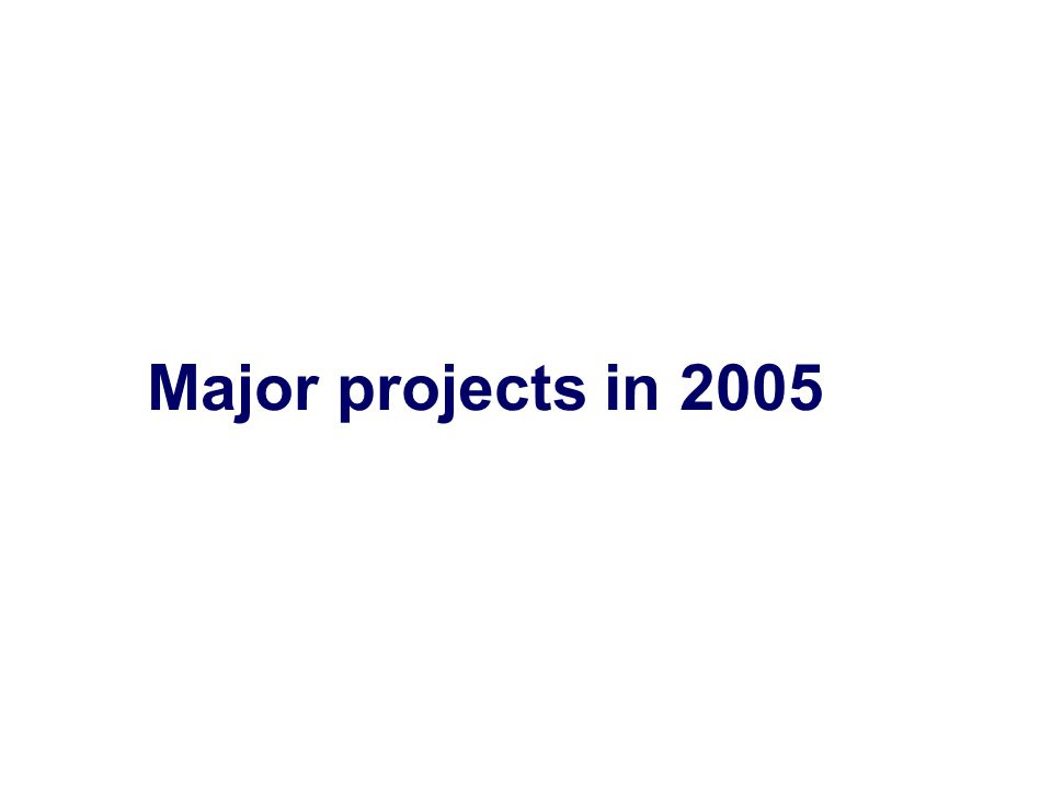 Major projects in 2005
