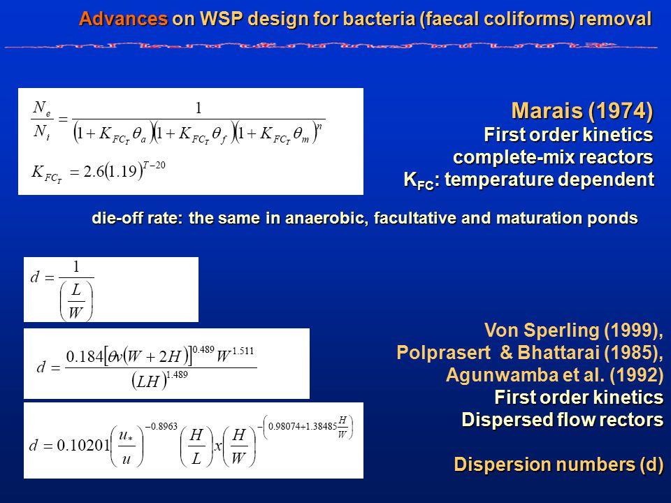 Marais (1974) First order kinetics complete-mix reactors K FC : temperature dependent die-off rate: the same in anaerobic, facultative and maturation ponds Von Sperling (1999), Polprasert & Bhattarai (1985), Agunwamba et al.