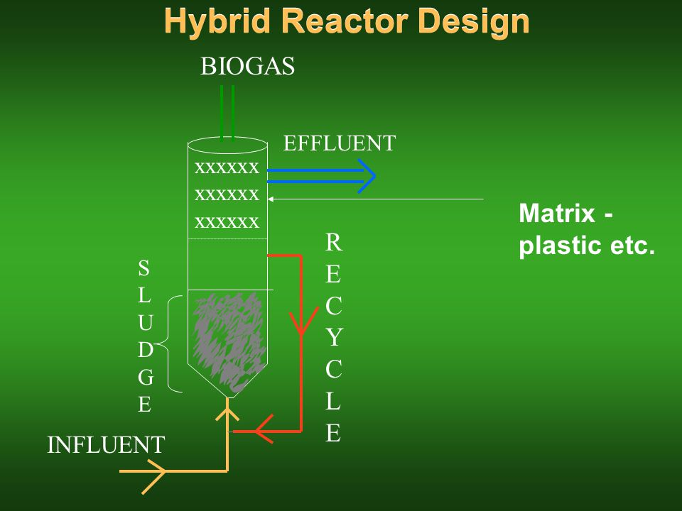 Hybrid Reactor Design RECYCLERECYCLE SLUDGESLUDGE BIOGAS INFLUENT EFFLUENT xxxxxx xxxxxx xxxxxx Matrix - plastic etc.
