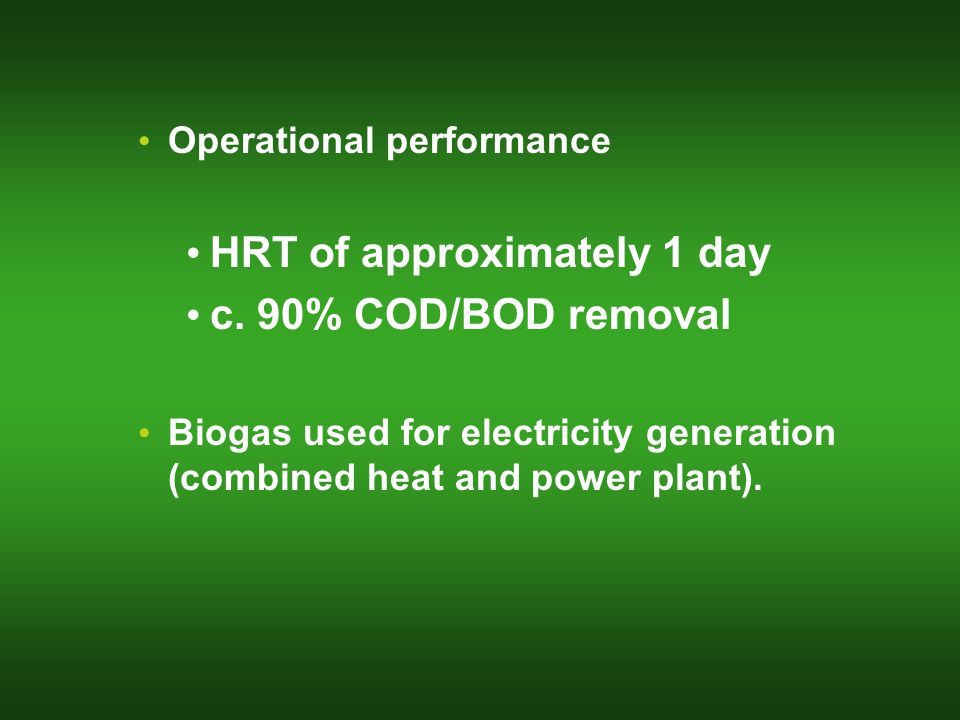 Operational performance HRT of approximately 1 day c.