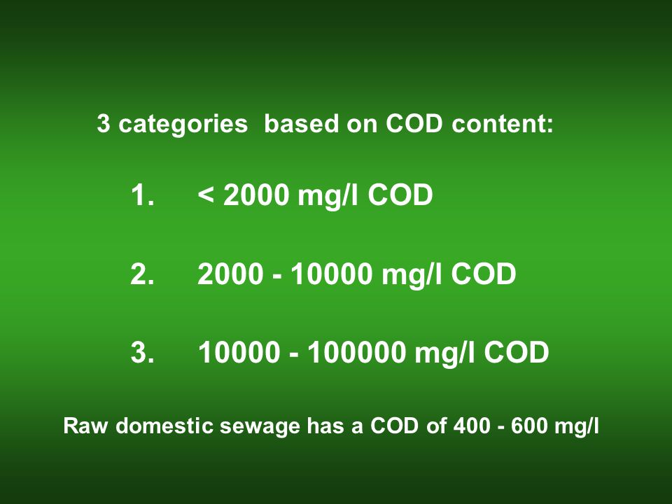 3 categories based on COD content: 1.< 2000 mg/l COD 2.2000 - 10000 mg/l COD 3.10000 - 100000 mg/l COD Raw domestic sewage has a COD of 400 - 600 mg/l