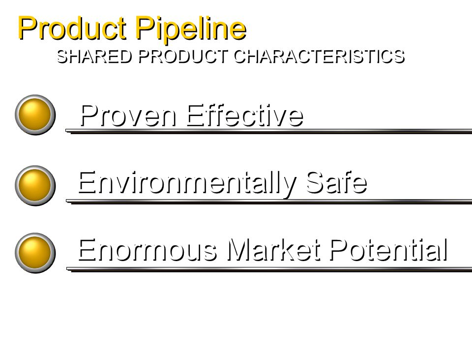 Proven Effective Environmentally Safe Enormous Market Potential SHARED PRODUCT CHARACTERISTICS Product Pipeline