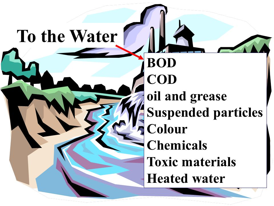 To the Water BOD COD oil and grease Suspended particles Colour Chemicals Toxic materials Heated water