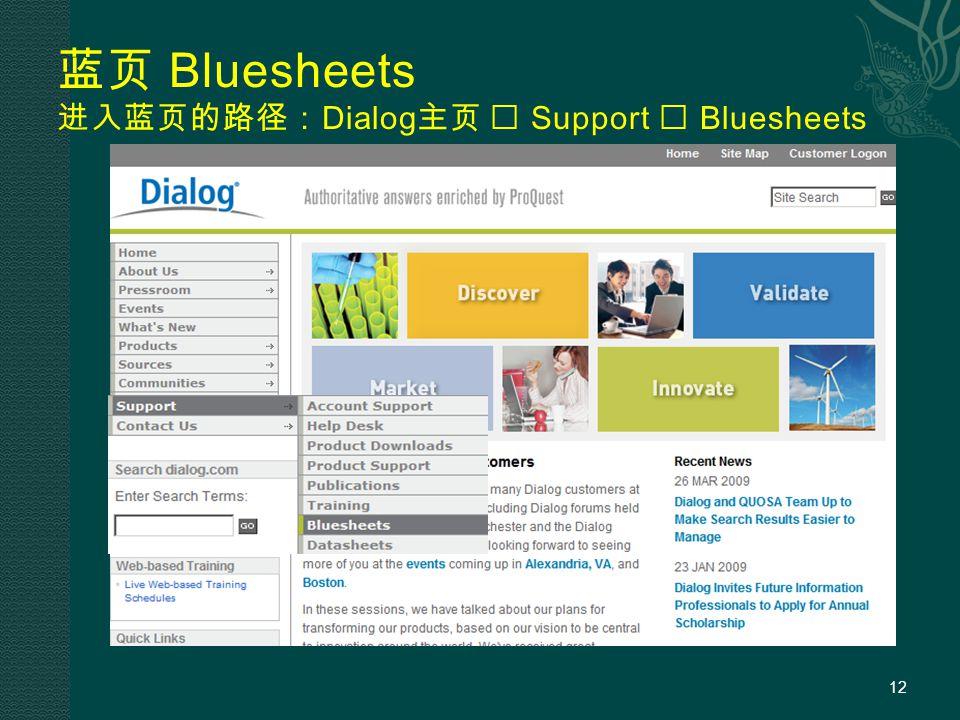 蓝页 Bluesheets 进入蓝页的路径: Dialog 主页  Support  Bluesheets 12