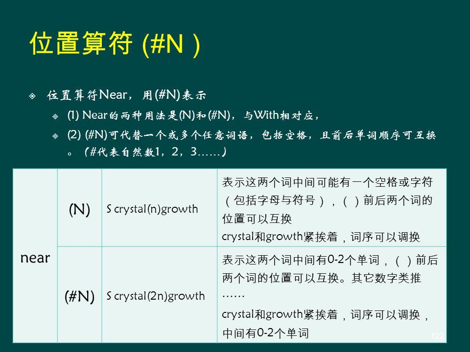  位置算符Near,用(#N)表示  (1) Near的两种用法是(N)和(#N),与With相对应,  (2) (#N)可代替一个或多个任意词语,包括空格,且前后单词顺序可互换 。(#代表自然数1,2,3 …… ) near (N) S crystal(n)growth 表示这两个词中间可能有一个空格或字符 (包括字母与符号),()前后两个词的 位置可以互换 crystal 和 growth 紧挨着,词序可以调换 (#N) S crystal(2n)growth 表示这两个词中间有 0-2 个单词,()前后 两个词的位置可以互换。其它数字类推 …… crystal 和 growth 紧挨着,词序可以调换, 中间有 0-2 个单词 位置算符 (#N ) 122