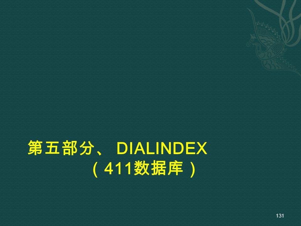 第五部分、 DIALINDEX ( 411 数据库) 131