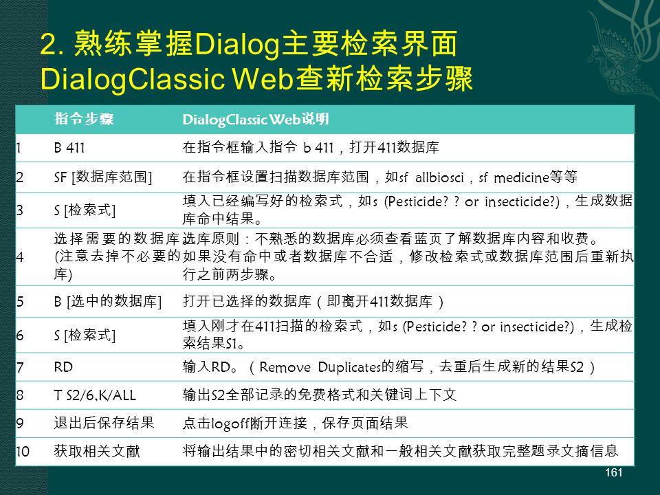 2. 熟练掌握 Dialog 主要检索界面 DialogClassic Web 查新检索步骤 161 指令步骤 DialogClassic Web 说明 1B 411 在指令框输入指令 b 411 ,打开 411 数据库 2 SF [ 数据库范围 ] 在指令框设置扫描数据库范围,如 sf allbi