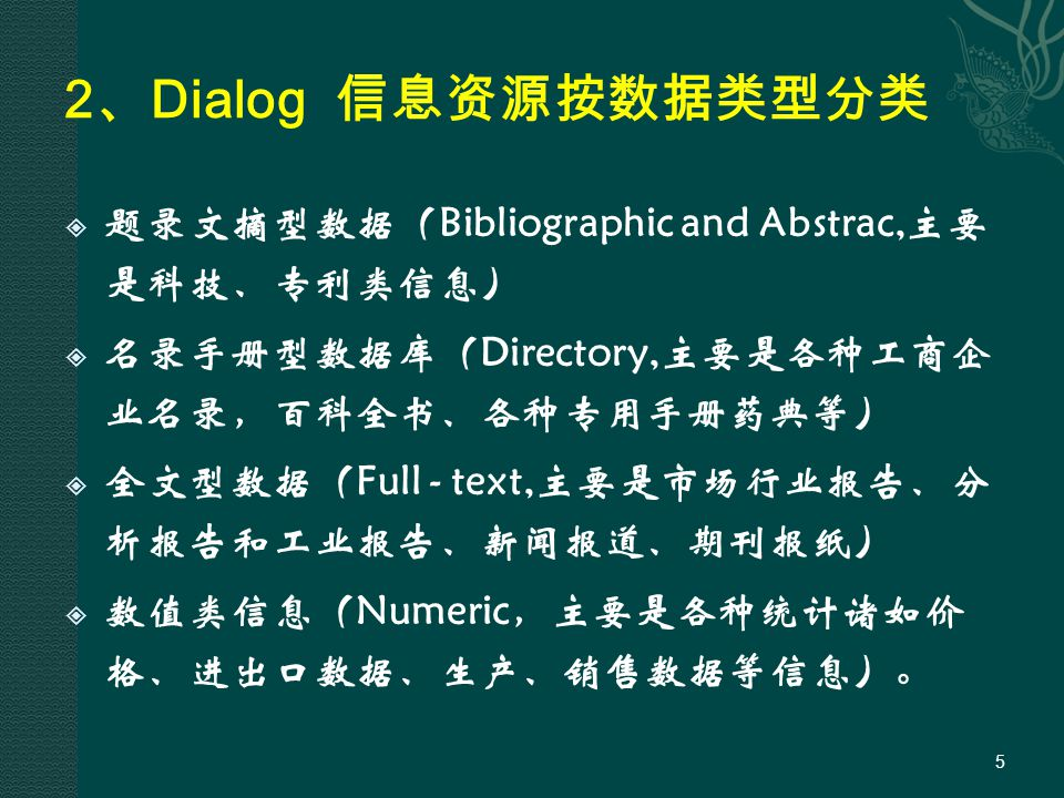 3 、 Dialog 信息资源概况  科技  收录生物、医学、药学、化学、农业、电子技术、计算机科 学、航空航天、地质、海洋、交通、新材料、能源与环境、 健康与卫生、机械与土木工程等等各个科技领域的文献  文献类型题录文摘型为主、有部分全文及综述报告,手册等  知识产权  收录世界范围内的专利、专利图片、商标和版权信息,以及 诉讼信息和知识产权法规  文献类型全文、文摘和报告 6