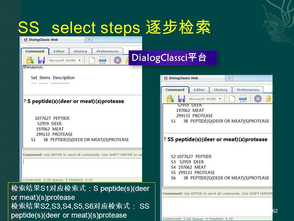 SS select steps 逐步检索 62 DialogClassci平台 检索结果 S1 对应检索式: S peptide(s)(deer or meat)(s)protease 检索结果 S2,S3,S4,S5,S6 对应检索式: SS peptide(s)(deer or meat)(s)