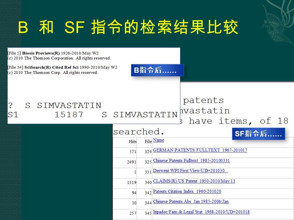 B 和 SF 指令的检索结果比较 B 指令后 …… SF 指令后 …… 66