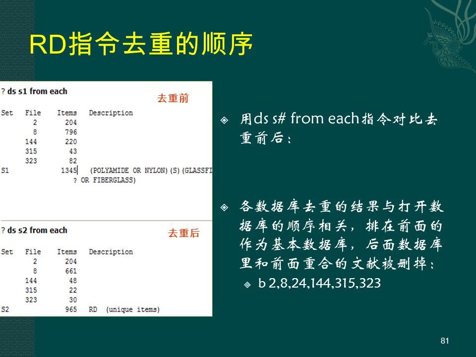RD 指令去重的顺序  用ds s# from each指令对比去 重前后:  各数据库去重的结果与打开数 据库的顺序相关,排在前面的 作为基本数据库,后面数据库 里和前面重合的文献被删掉:  b 2,8,24,144,315,323 81 去重前 去重后