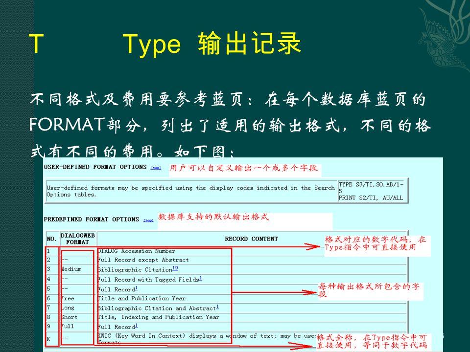 TType 输出记录 不同格式及费用要参考蓝页:在每个数据库蓝页的 FORMAT部分,列出了适用的输出格式,不同的格 式有不同的费用。如下图: 86