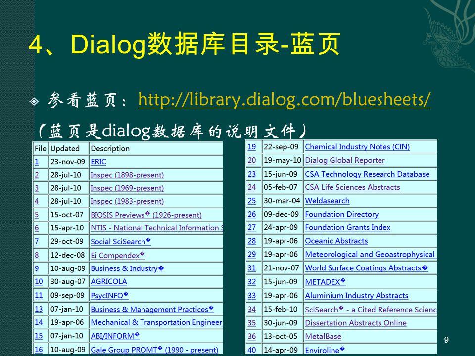 4 、 Dialog 数据库目录 - 蓝页  参看蓝页:http://library.dialog.com/bluesheets/http://library.dialog.com/bluesheets/ (蓝页是dialog数据库的说明文件) 9