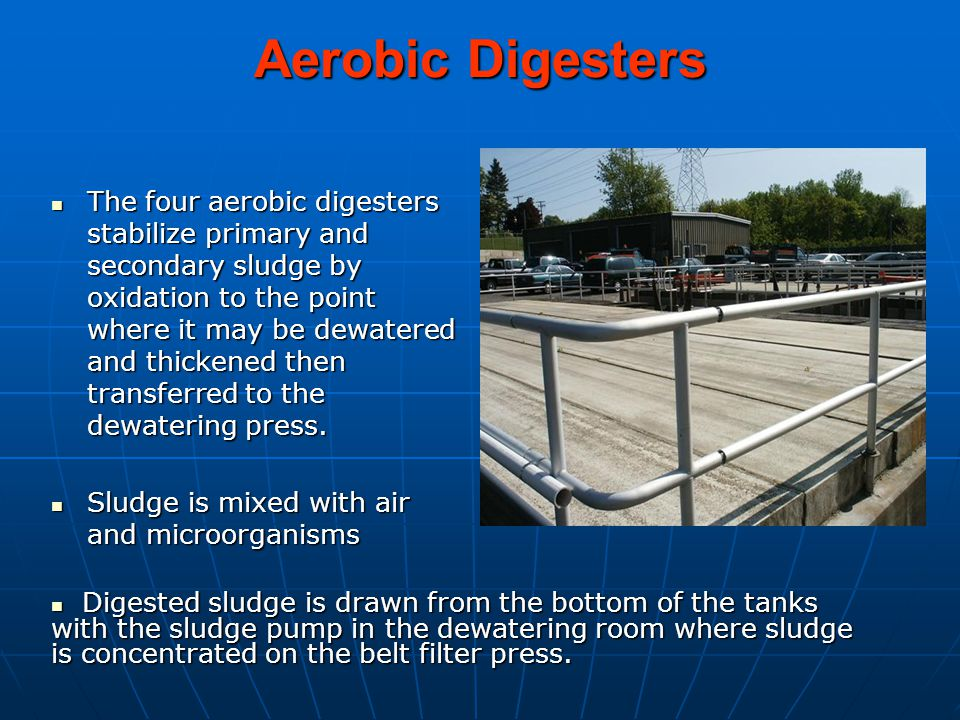 Aerobic Digesters The four aerobic digesters stabilize primary and secondary sludge by oxidation to the point where it may be dewatered and thickened then transferred to the dewatering press.