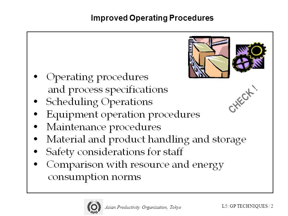 L5: GP TECHNIQUES / 2 Asian Productivity Organization, Tokyo Improved Operating Procedures