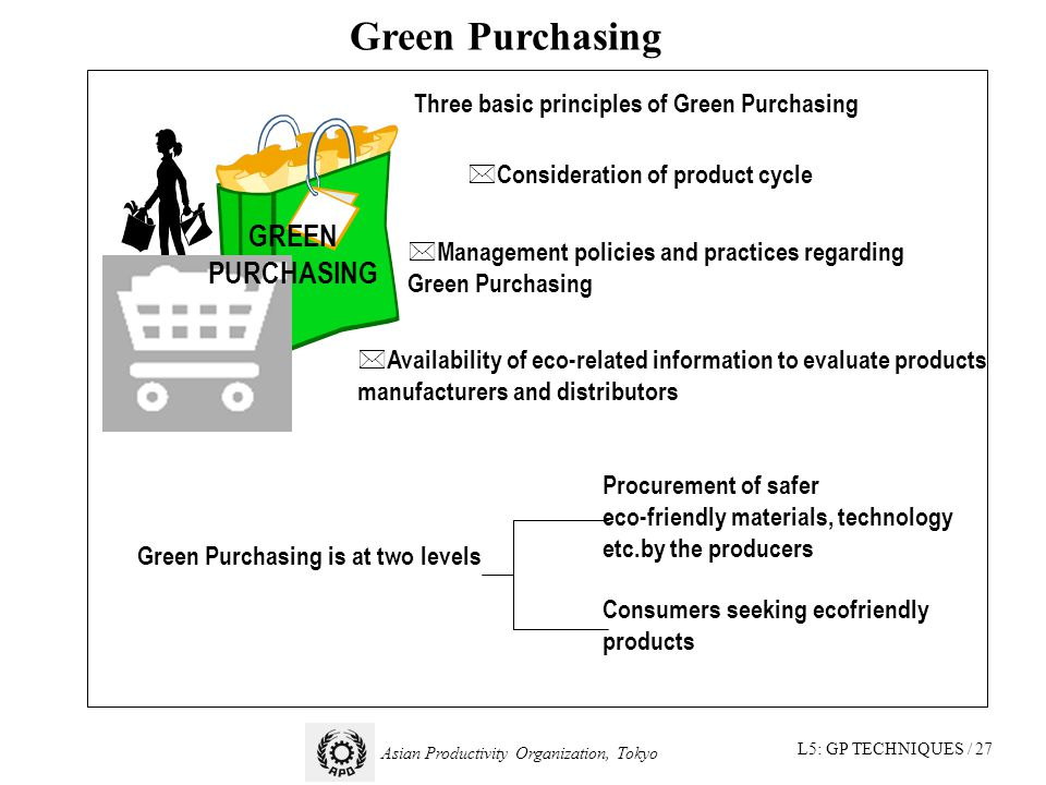 L5: GP TECHNIQUES / 27 Asian Productivity Organization, Tokyo Green Purchasing GREEN PURCHASING * Consideration of product cycle Green Purchasing is at two levels Procurement of safer eco-friendly materials, technology etc.by the producers Consumers seeking ecofriendly products Three basic principles of Green Purchasing * Management policies and practices regarding Green Purchasing * Availability of eco-related information to evaluate products manufacturers and distributors