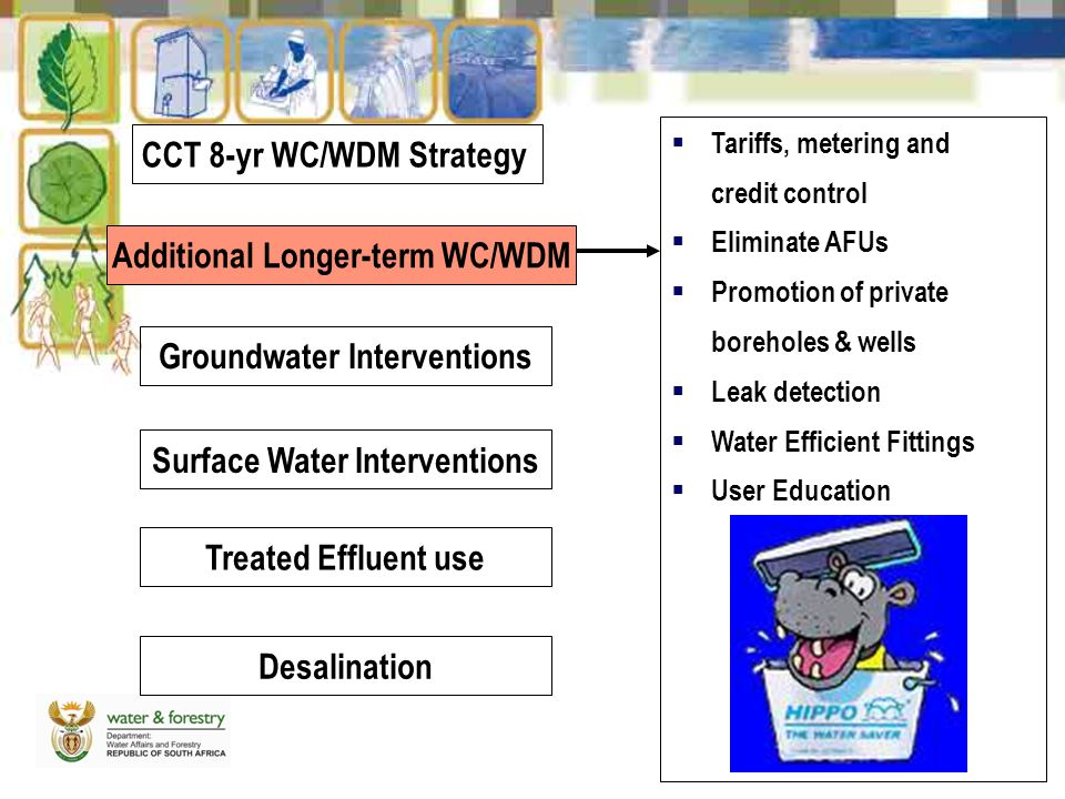 Additional Longer-term WC/WDM Groundwater Interventions Surface Water Interventions Treated Effluent use Desalination  Tariffs, metering and credit control  Eliminate AFUs  Promotion of private boreholes & wells  Leak detection  Water Efficient Fittings  User Education