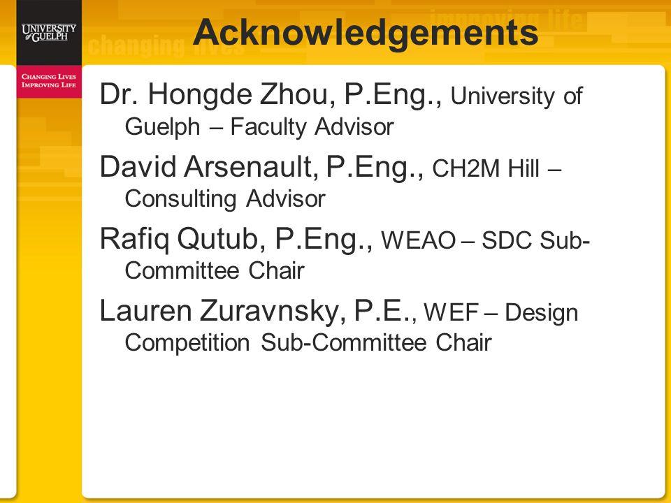 Dr. Hongde Zhou, P.Eng., University of Guelph – Faculty Advisor David Arsenault, P.Eng., CH2M Hill – Consulting Advisor Rafiq Qutub, P.Eng., WEAO – SD