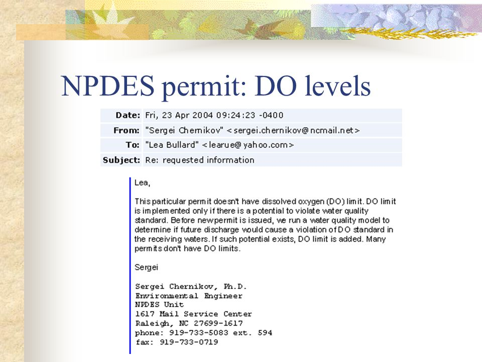NPDES permit: DO levels