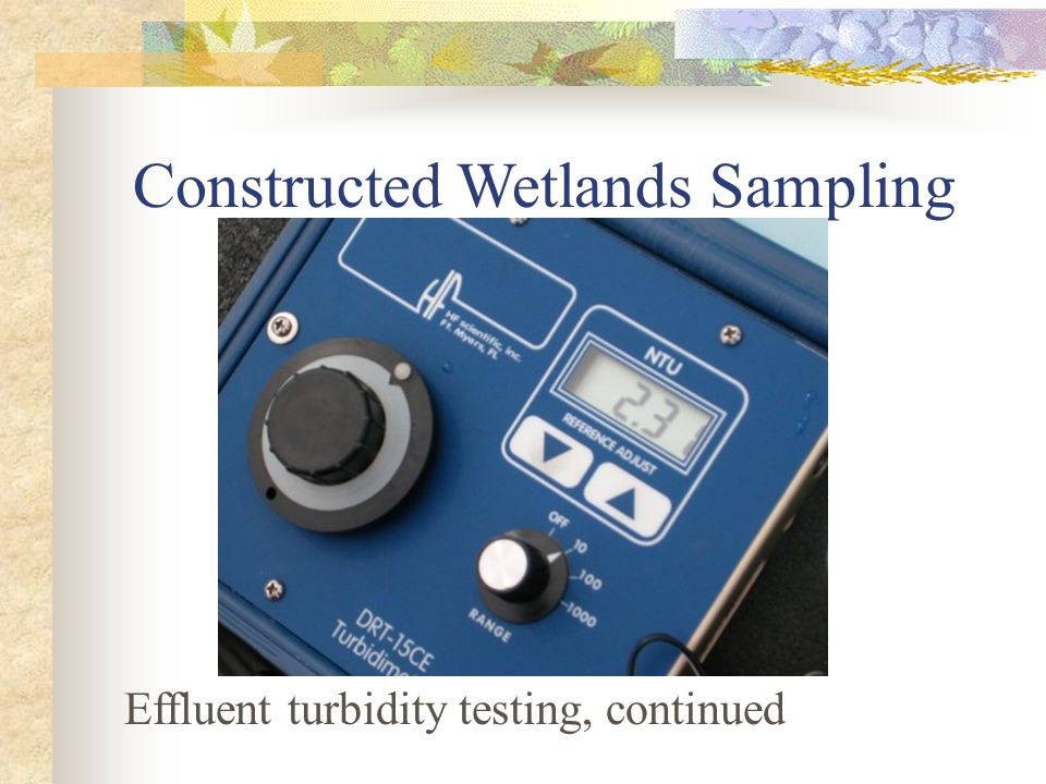 Constructed Wetlands Sampling Effluent turbidity testing, continued
