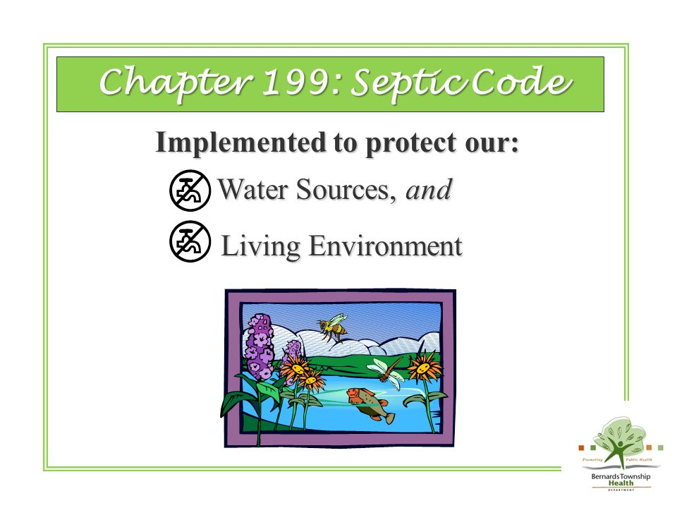 of the State of New Jersey Stateof New Jersey Chapter 199 Septic Code Septic Code of the of the …and the Local ordinances may have additional requirements.