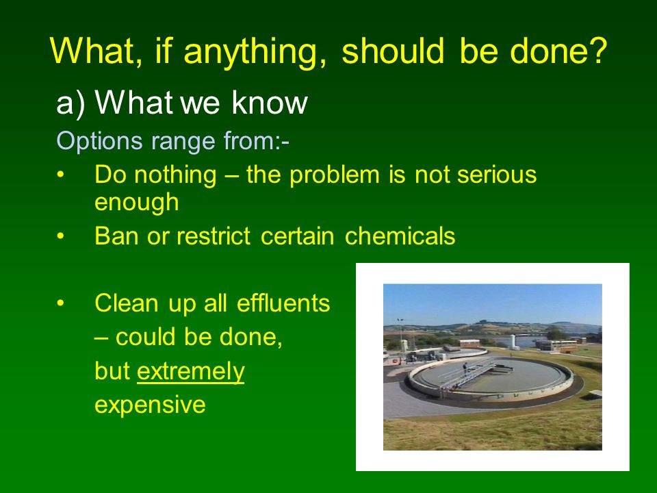 What, if anything, should be done? a)What we know Options range from:- Do nothing – the problem is not serious enough Ban or restrict certain chemical