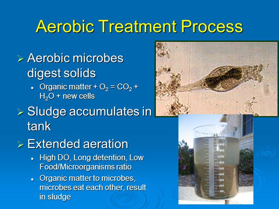 Aerobic Treatment Process  Aerobic microbes digest solids Organic matter + O 2 = CO 2 + H 2 O + new cells Organic matter + O 2 = CO 2 + H 2 O + new c