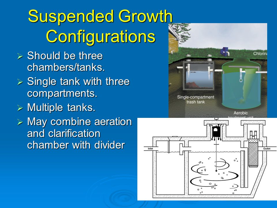 Suspended Growth Configurations  Should be three chambers/tanks.  Single tank with three compartments.  Multiple tanks.  May combine aeration and