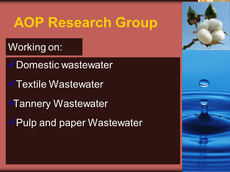 AOP Research Group Working on: Domestic wastewater Textile Wastewater Tannery Wastewater Pulp and paper Wastewater