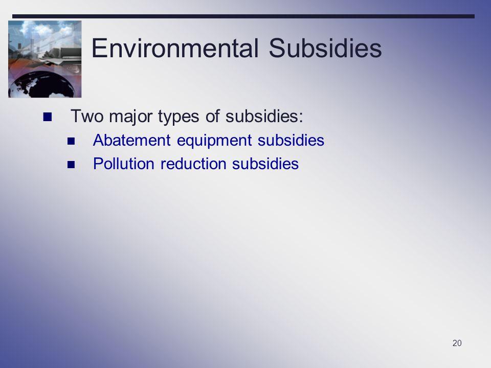 20 Environmental Subsidies Two major types of subsidies: Abatement equipment subsidies Pollution reduction subsidies